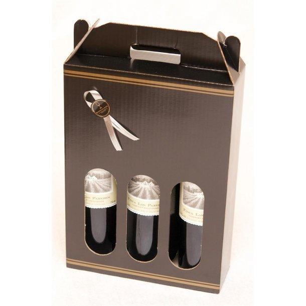 Sort Karton med 3 flasker Las Paredes